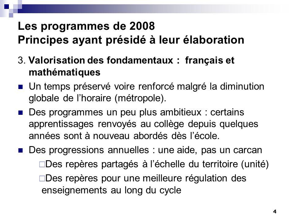 4 Les programmes de 2008 Principes ayant présidé à leur élaboration 3. Valorisation des fondamentaux : français et mathématiques Un temps préservé voi