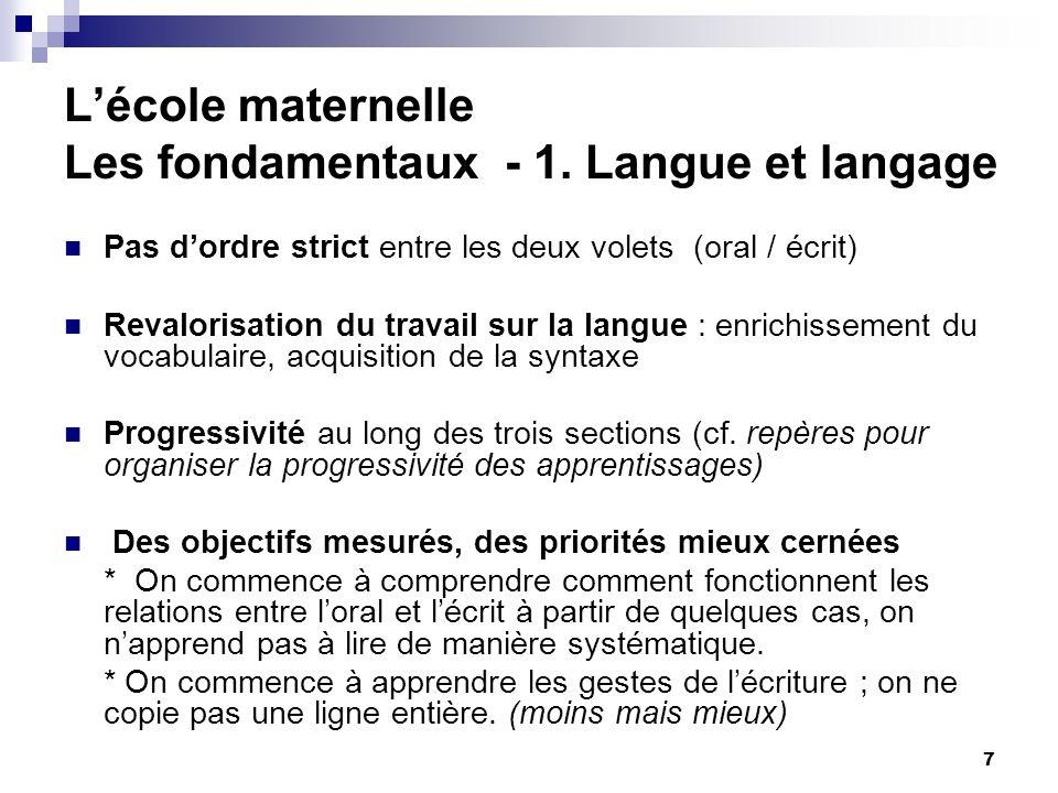 7 Lécole maternelle Les fondamentaux - 1. Langue et langage Pas dordre strict entre les deux volets (oral / écrit) Revalorisation du travail sur la la