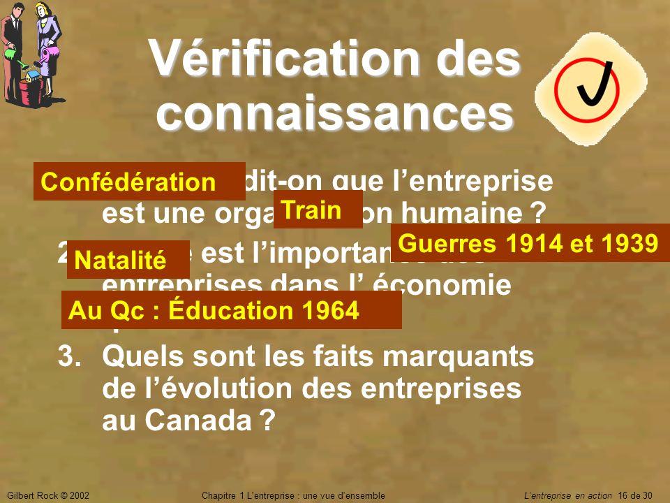 Gilbert Rock © 2002Chapitre 1 L'entreprise : une vue d'ensemble Lentreprise en action 16 de 30 Vérification des connaissances 1.Pourquoi dit-on que le