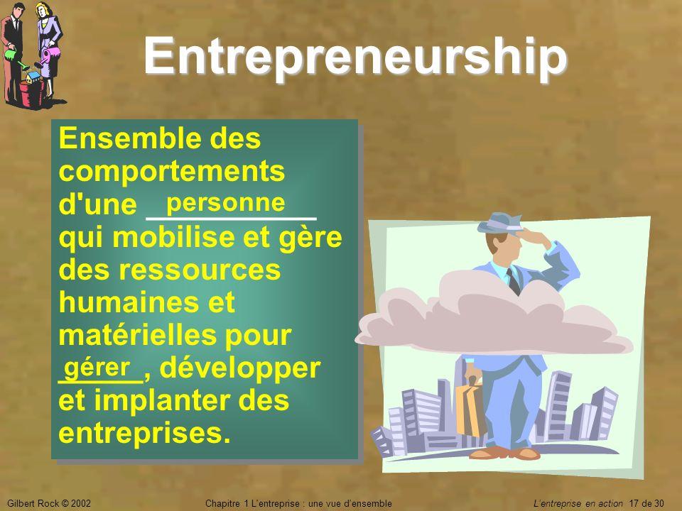 Gilbert Rock © 2002Chapitre 1 L'entreprise : une vue d'ensemble Lentreprise en action 17 de 30 Entrepreneurship Ensemble des comportements d'une _____