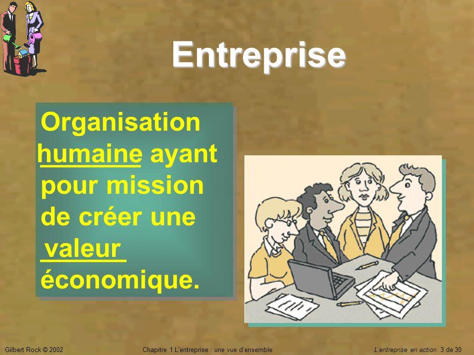 Gilbert Rock © 2002Chapitre 1 L'entreprise : une vue d'ensemble Lentreprise en action 3 de 30 Entreprise Organisation _______ ayant pour mission de cr