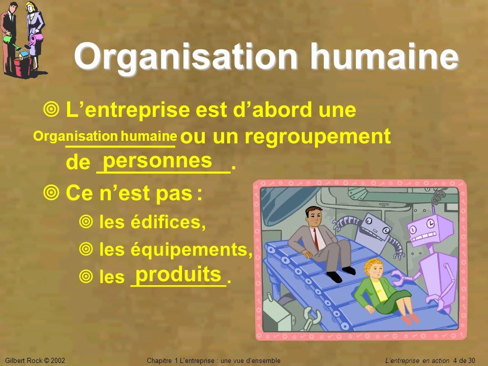 Gilbert Rock © 2002Chapitre 1 L'entreprise : une vue d'ensemble Lentreprise en action 4 de 30 Organisation humaine Lentreprise est dabord une ________