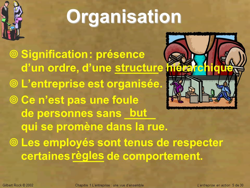 Gilbert Rock © 2002Chapitre 1 L'entreprise : une vue d'ensemble Lentreprise en action 5 de 30Organisation Signification : présence dun ordre, dune ___