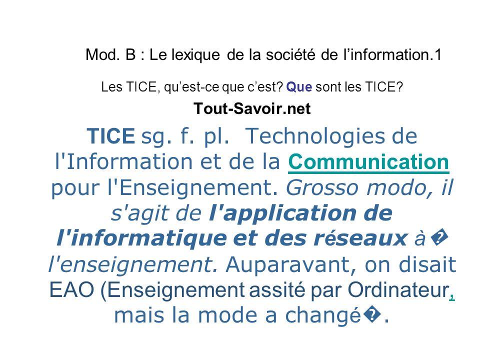 Mod. B : Le lexique de la société de linformation.1 Les TICE, quest-ce que cest.