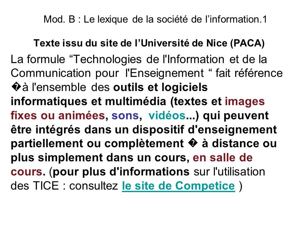 Mod. B : Le lexique de la société de linformation.1 Texte issu du site de lUniversité de Nice (PACA) La formule Technologies de l'Information et de la