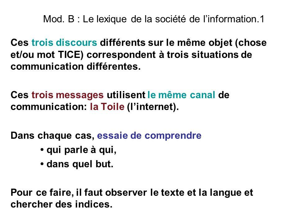 Mod. B : Le lexique de la société de linformation.1 Ces trois discours différents sur le même objet (chose et/ou mot TICE) correspondent à trois situa