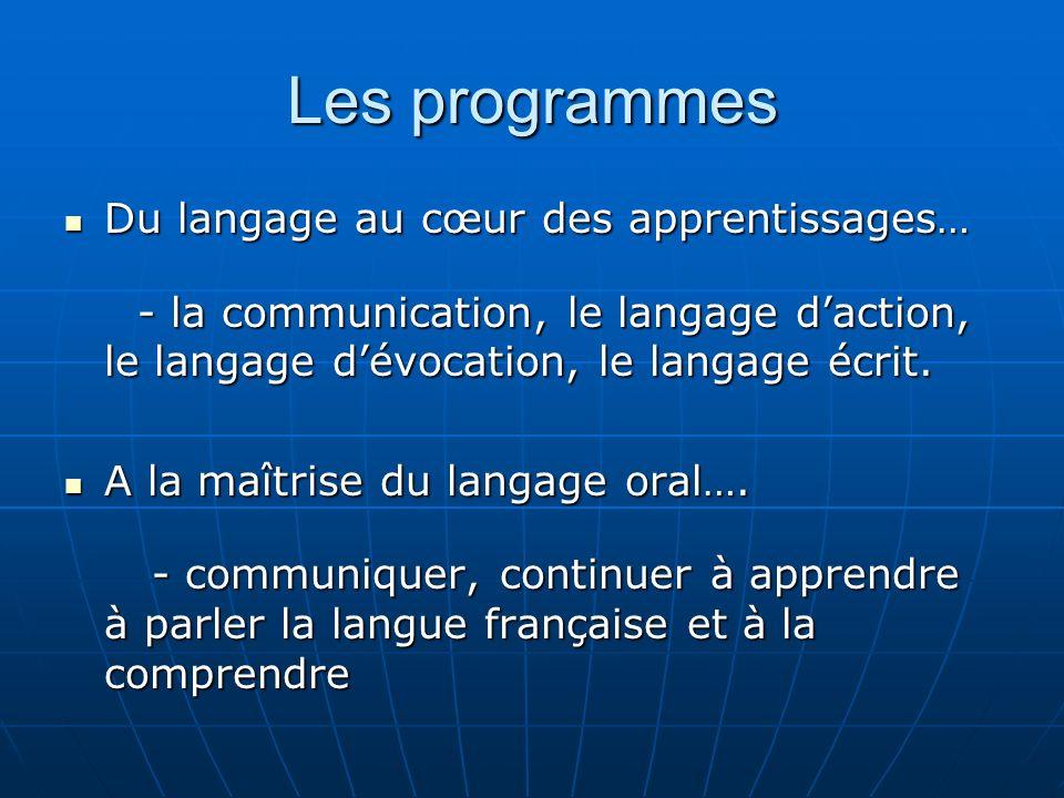 Les programmes Du langage au cœur des apprentissages… Du langage au cœur des apprentissages… - la communication, le langage daction, le langage dévocation, le langage écrit.