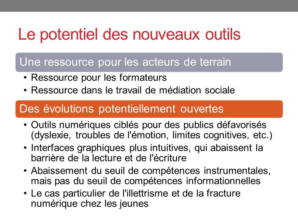Le potentiel des nouveaux outils Une ressource pour les acteurs de terrain Ressource pour les formateurs Ressource dans le travail de médiation social