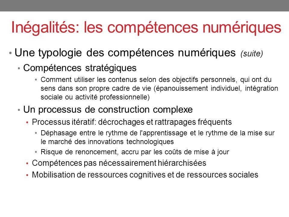 Une typologie des compétences numériques (suite) Compétences stratégiques Comment utiliser les contenus selon des objectifs personnels, qui ont du sen