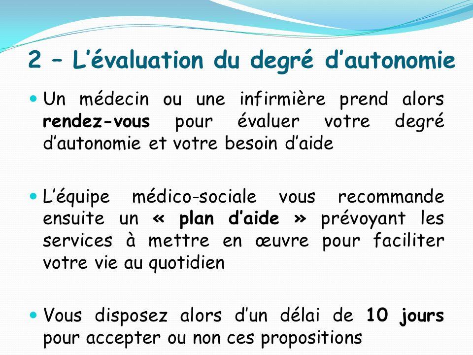 2 – Lévaluation du degré dautonomie Un médecin ou une infirmière prend alors rendez-vous pour évaluer votre degré dautonomie et votre besoin daide Léq