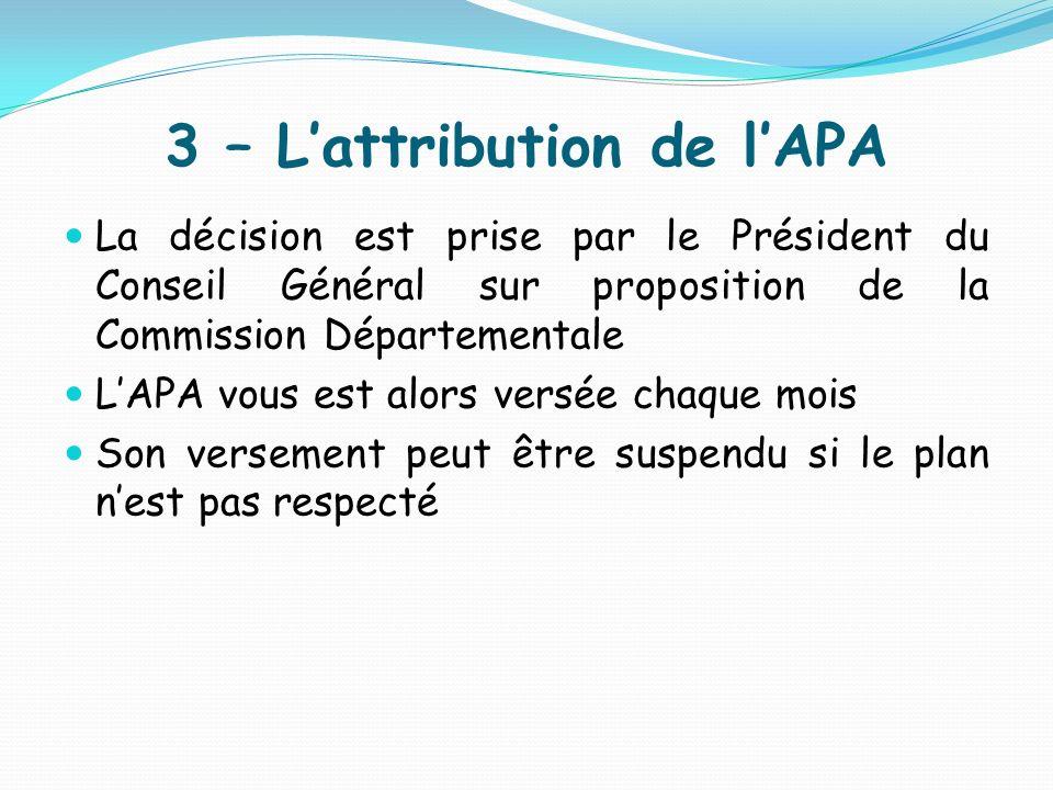 3 – Lattribution de lAPA La décision est prise par le Président du Conseil Général sur proposition de la Commission Départementale LAPA vous est alors