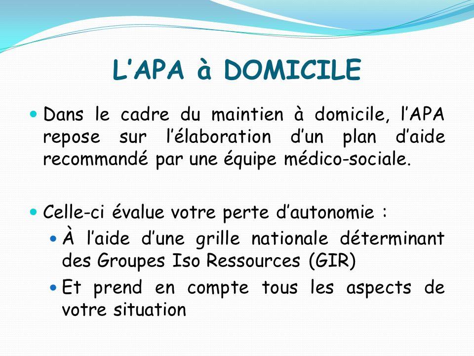 LAPA à DOMICILE Dans le cadre du maintien à domicile, lAPA repose sur lélaboration dun plan daide recommandé par une équipe médico-sociale. Celle-ci é