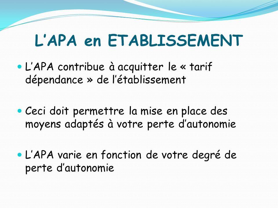 LAPA en ETABLISSEMENT LAPA contribue à acquitter le « tarif dépendance » de létablissement Ceci doit permettre la mise en place des moyens adaptés à v