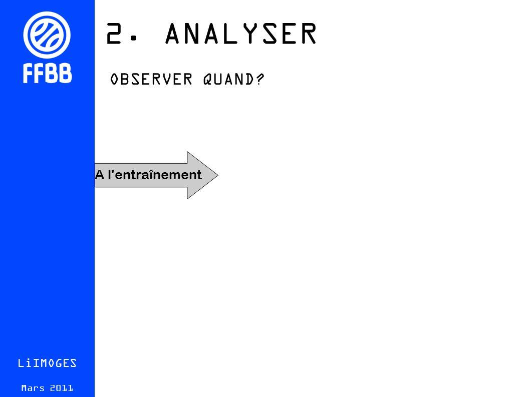 2. ANALYSER LiIMOGES Mars 2011 OBSERVER QUAND A l entraînement