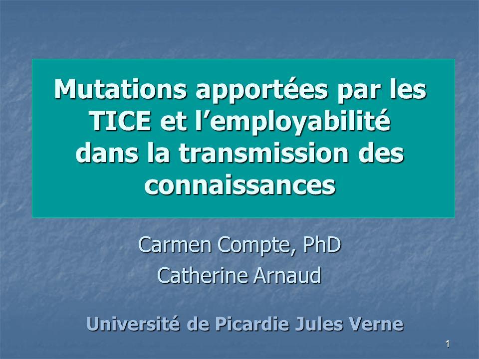 1 Mutations apportées par les TICE et lemployabilité dans la transmission des connaissances Carmen Compte, PhD Catherine Arnaud Université de Picardie Jules Verne