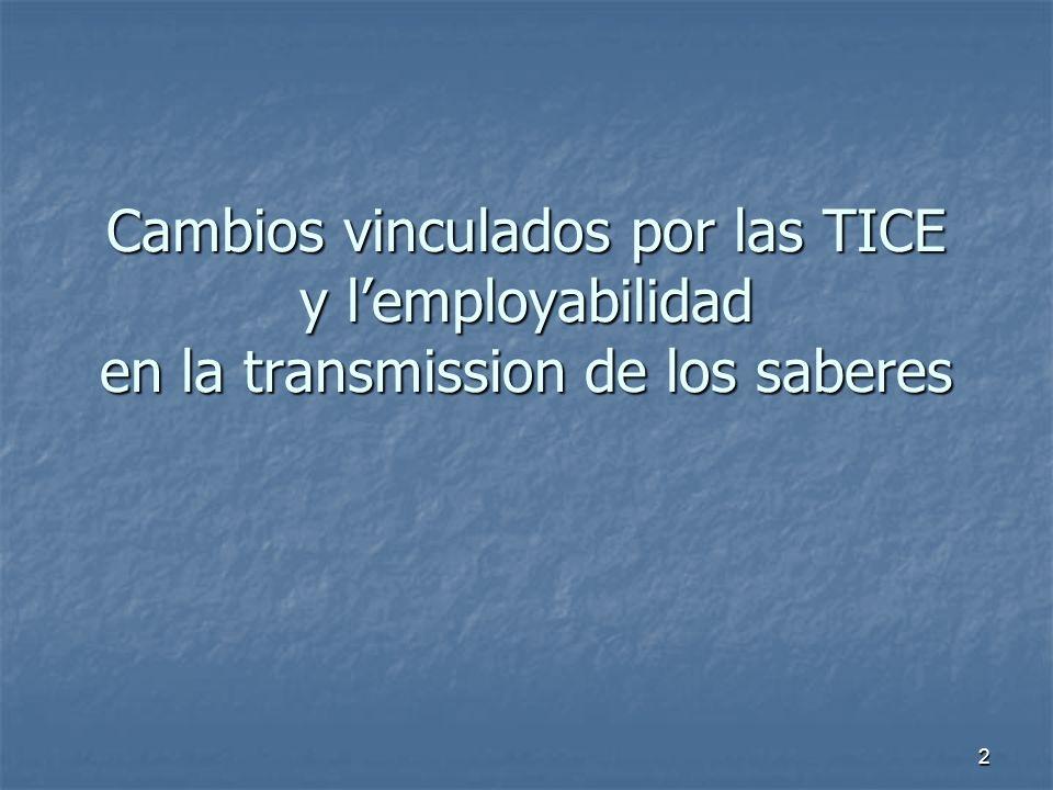 2 Cambios vinculados por las TICE y lemployabilidad en la transmission de los saberes