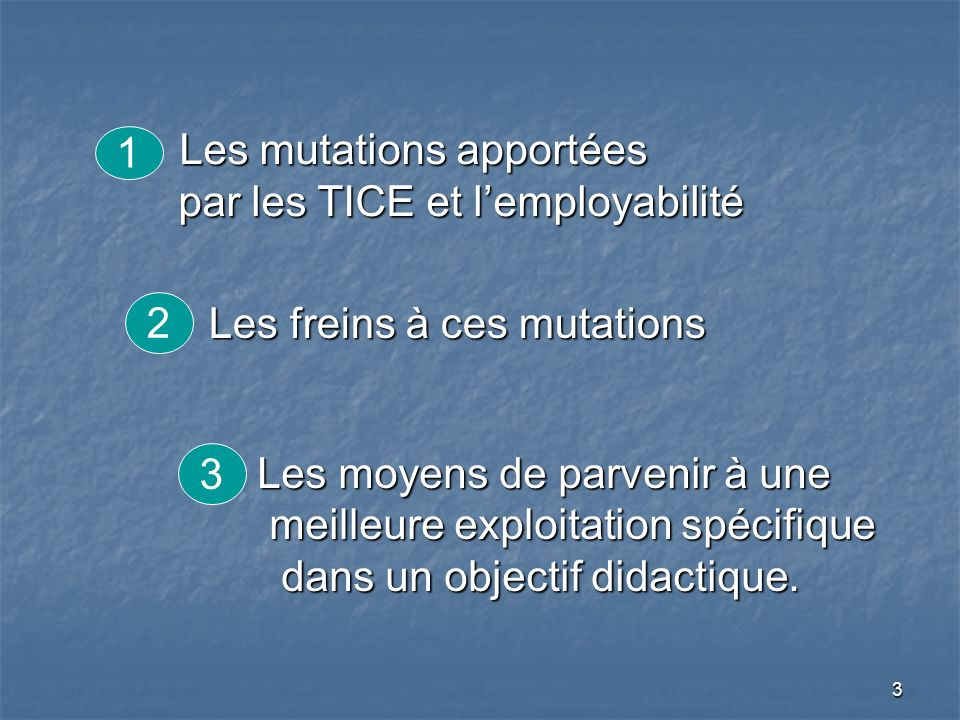 4 1.Los cambios vinculados por las TICE y lemployabilidad 1.