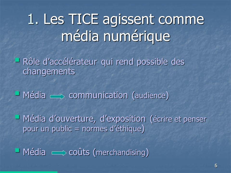 5 1. Les TICE agissent comme média numérique Rôle daccélérateur qui rend possible des changements Rôle daccélérateur qui rend possible des changements
