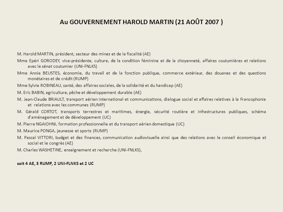 Au GOUVERNEMENT HAROLD MARTIN (21 AOÛT 2007 ) M.