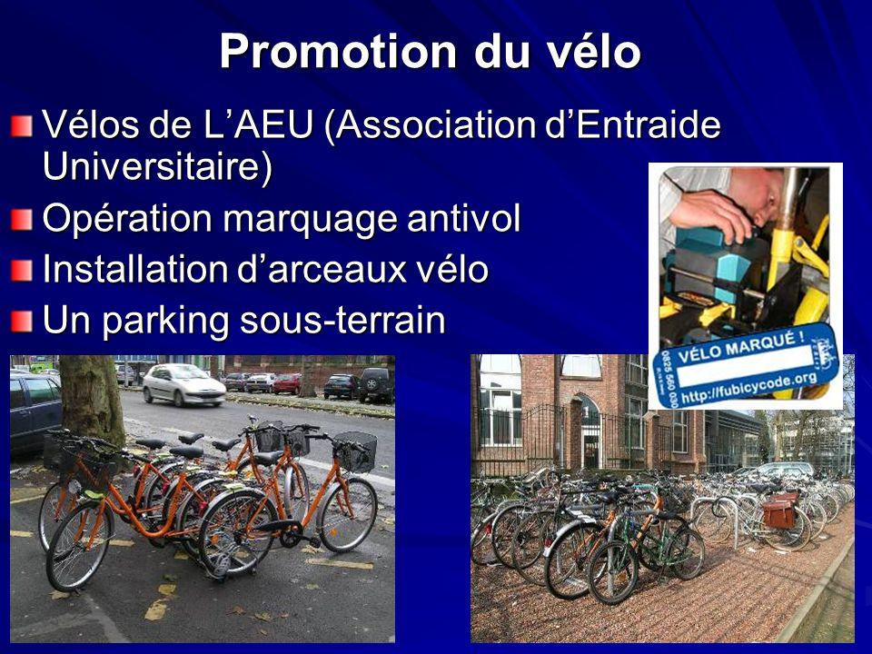 Promotion du vélo Vélos de LAEU (Association dEntraide Universitaire) Opération marquage antivol Installation darceaux vélo Un parking sous-terrain