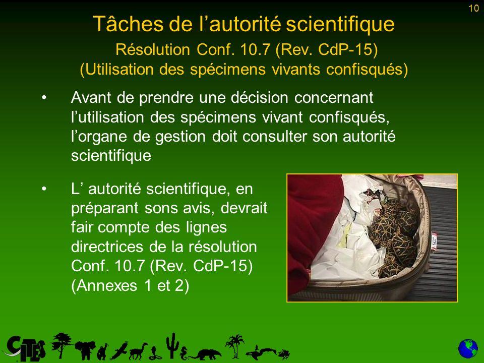 10 Tâches de lautorité scientifique Résolution Conf.