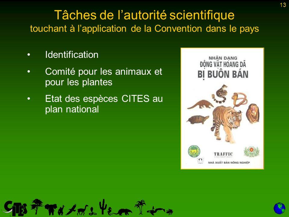 13 Tâches de lautorité scientifique touchant à lapplication de la Convention dans le pays Identification Comité pour les animaux et pour les plantes Etat des espèces CITES au plan national
