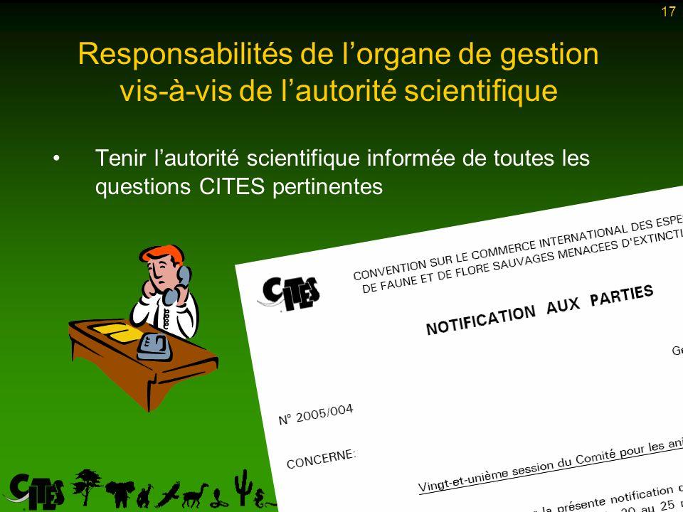 17 Tenir lautorité scientifique informée de toutes les questions CITES pertinentes Responsabilités de lorgane de gestion vis-à-vis de lautorité scientifique