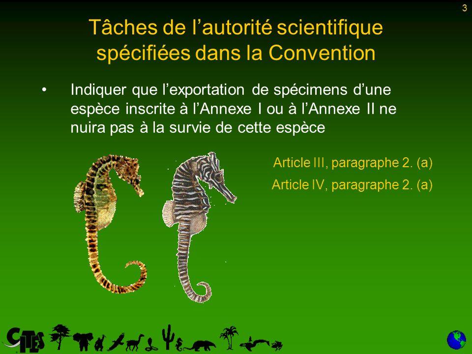 3 Tâches de lautorité scientifique spécifiées dans la Convention Indiquer que lexportation de spécimens dune espèce inscrite à lAnnexe I ou à lAnnexe II ne nuira pas à la survie de cette espèce Article III, paragraphe 2.