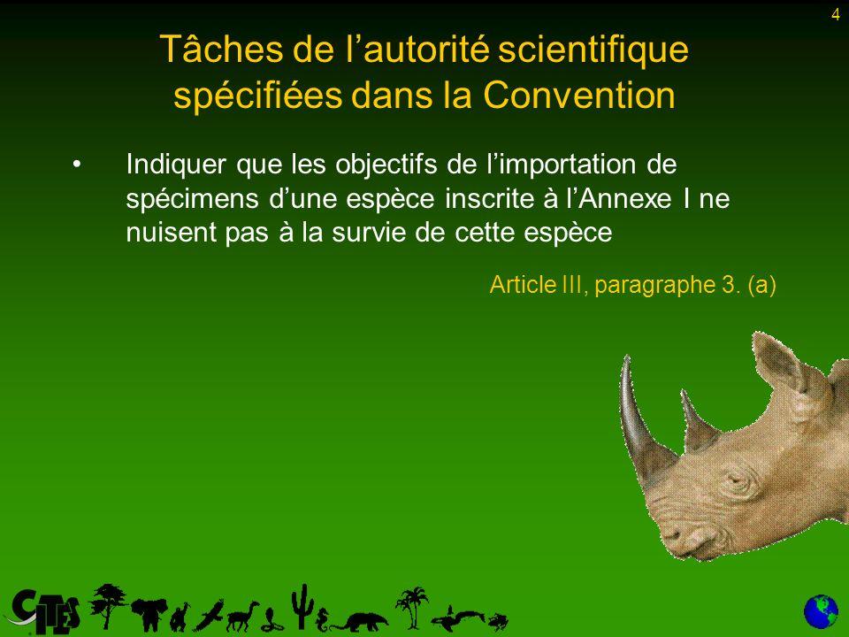 4 Indiquer que les objectifs de limportation de spécimens dune espèce inscrite à lAnnexe I ne nuisent pas à la survie de cette espèce Article III, paragraphe 3.