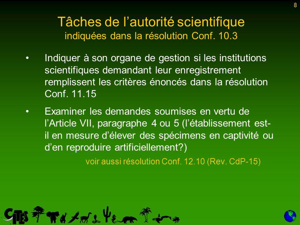 8 Indiquer à son organe de gestion si les institutions scientifiques demandant leur enregistrement remplissent les critères énoncés dans la résolution Conf.