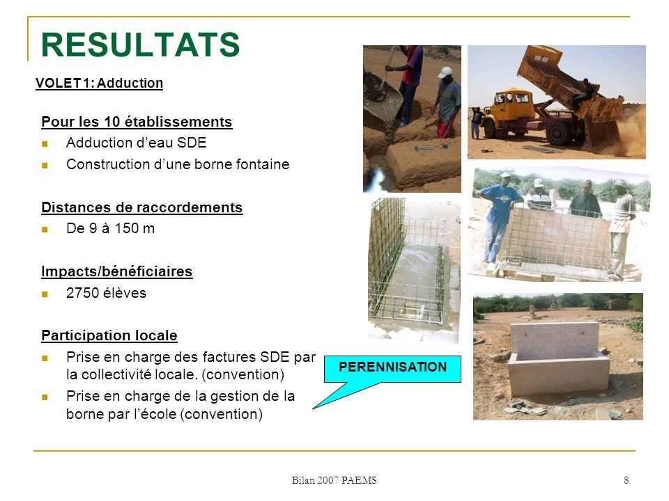 Bilan 2007 PAEMS 8 RESULTATS Pour les 10 établissements Adduction deau SDE Construction dune borne fontaine Distances de raccordements De 9 à 150 m Impacts/bénéficiaires 2750 élèves Participation locale Prise en charge des factures SDE par la collectivité locale.
