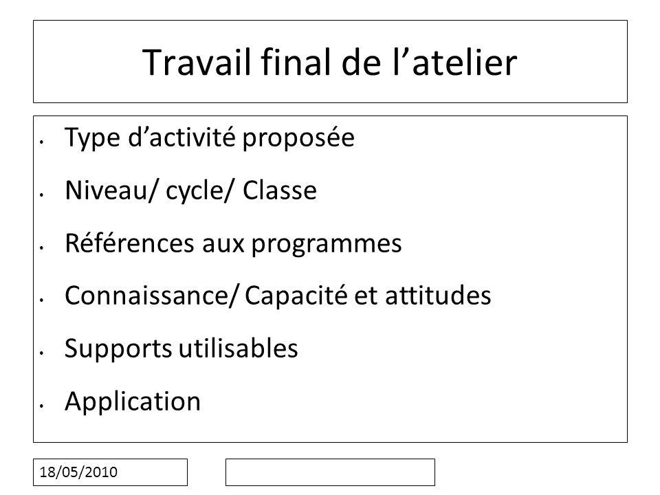 18/05/2010 Travail final de latelier Type dactivité proposée Niveau/ cycle/ Classe Références aux programmes Connaissance/ Capacité et attitudes Supports utilisables Application