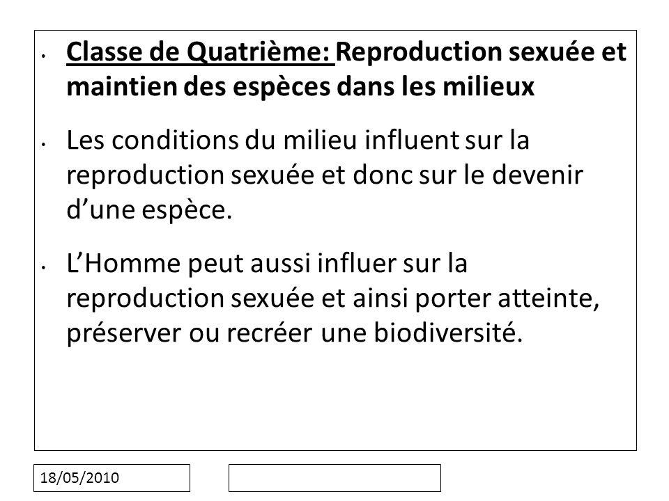 18/05/2010 Classe de Quatrième: Reproduction sexuée et maintien des espèces dans les milieux Les conditions du milieu influent sur la reproduction sexuée et donc sur le devenir dune espèce.