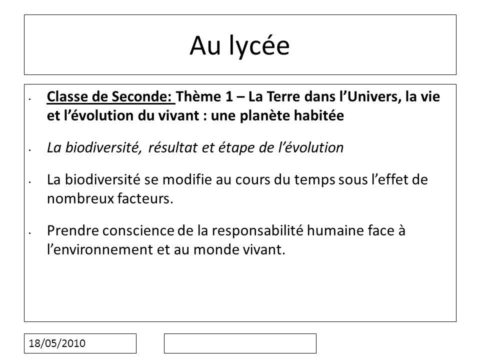 18/05/2010 Au lycée Classe de Seconde: Thème 1 – La Terre dans lUnivers, la vie et lévolution du vivant : une planète habitée La biodiversité, résulta