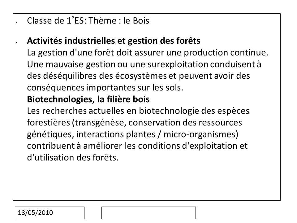 18/05/2010 Classe de 1°ES: Thème : le Bois Activités industrielles et gestion des forêts La gestion d une forêt doit assurer une production continue.