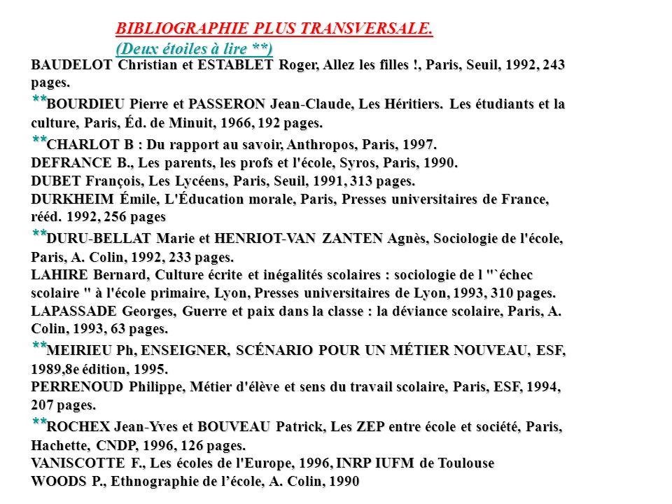 BAUDELOT Christian et ESTABLET Roger, Allez les filles !, Paris, Seuil, 1992, 243 pages. ** BOURDIEU Pierre et PASSERON Jean-Claude, Les Héritiers. Le