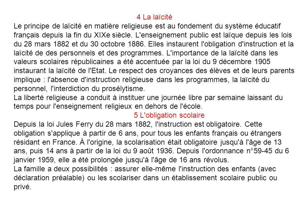 4 La laïcité Le principe de laïcité en matière religieuse est au fondement du système éducatif français depuis la fin du XIXe siècle. L'enseignement p