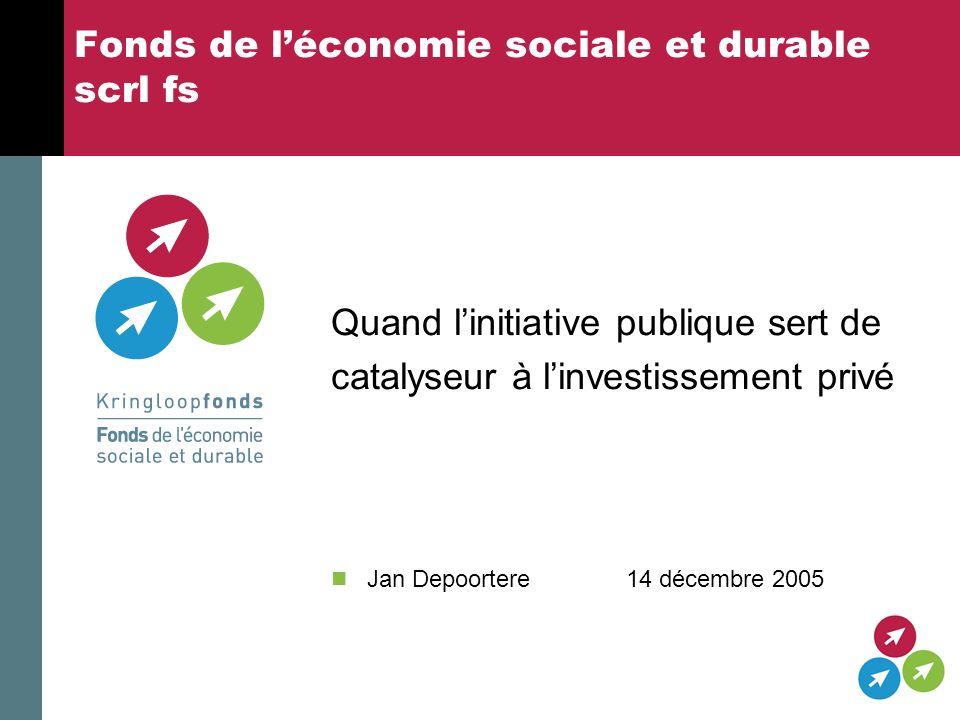 Fonds de léconomie sociale et durable scrl fs Quand linitiative publique sert de catalyseur à linvestissement privé Jan Depoortere 14 décembre 2005