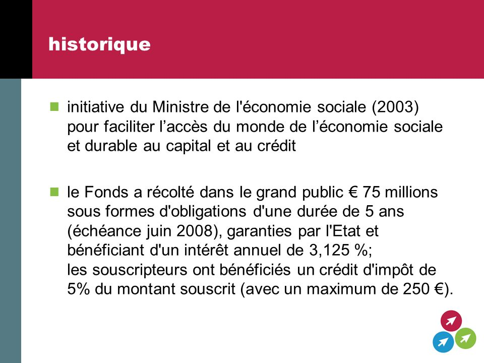 contact Fonds de léconomie sociale et durable p/a: rue de Ligne 1, 1000 Bruxelles Tel: +32/2/209.08.33 fax +32/2/209.08.32 Email: info@kf-fesd.be web: www.kf-fesd.beinfo@kf-fesd.bewww.kf-fesd.be