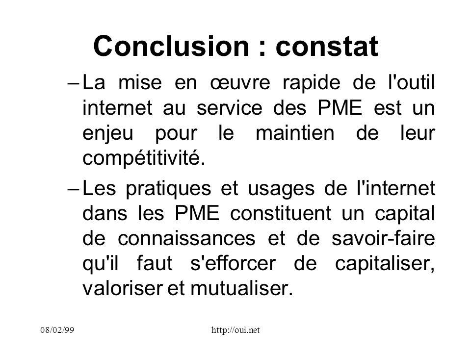 08/02/99http://oui.net Conclusion : constat –La mise en œuvre rapide de l outil internet au service des PME est un enjeu pour le maintien de leur compétitivité.
