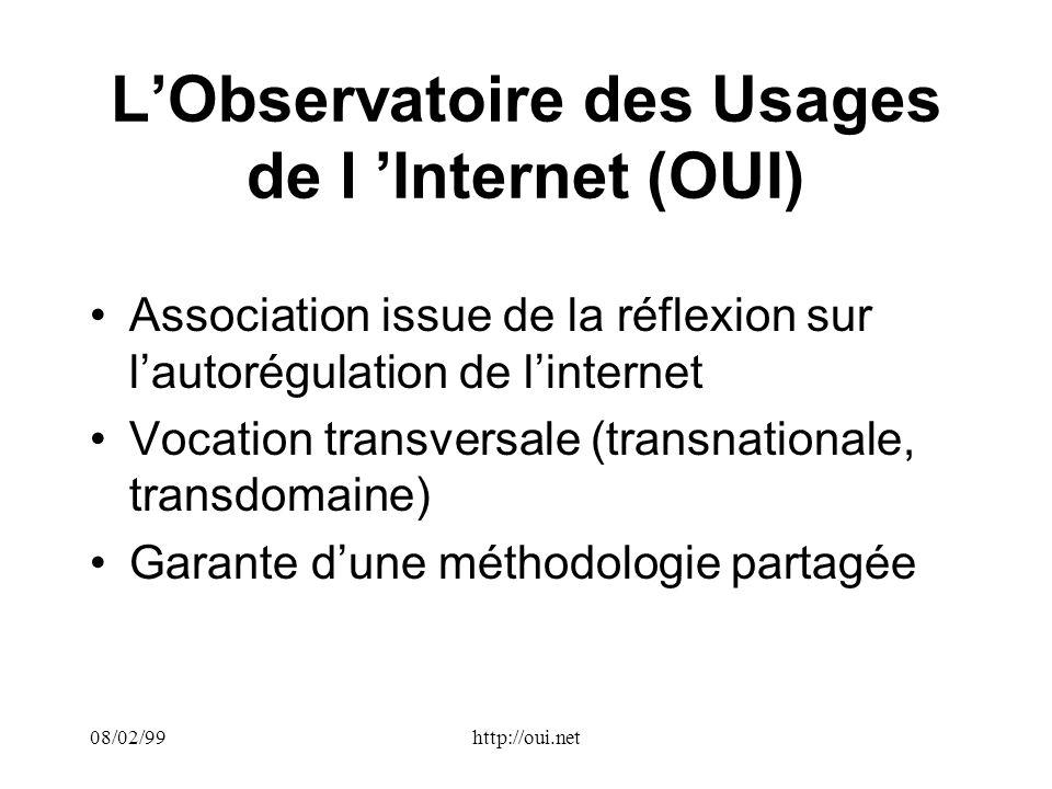 08/02/99http://oui.net LObservatoire des Usages de l Internet (OUI) Association issue de la réflexion sur lautorégulation de linternet Vocation transversale (transnationale, transdomaine) Garante dune méthodologie partagée