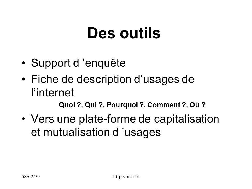 08/02/99http://oui.net Des outils Support d enquête Fiche de description dusages de linternet Quoi , Qui , Pourquoi , Comment , Où .