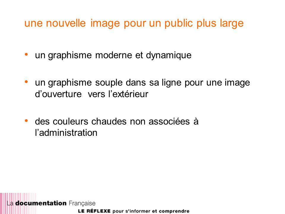 une nouvelle image pour un public plus large un graphisme moderne et dynamique un graphisme souple dans sa ligne pour une image douverture vers lextérieur des couleurs chaudes non associées à ladministration
