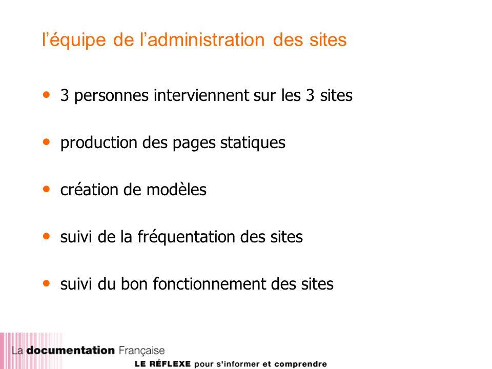 léquipe de ladministration des sites 3 personnes interviennent sur les 3 sites production des pages statiques création de modèles suivi de la fréquentation des sites suivi du bon fonctionnement des sites