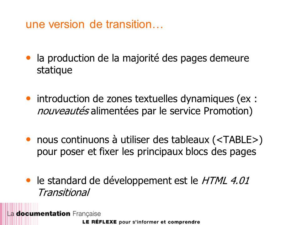 une version de transition… la production de la majorité des pages demeure statique introduction de zones textuelles dynamiques (ex : nouveautés alimentées par le service Promotion) nous continuons à utiliser des tableaux ( ) pour poser et fixer les principaux blocs des pages le standard de développement est le HTML 4.01 Transitional