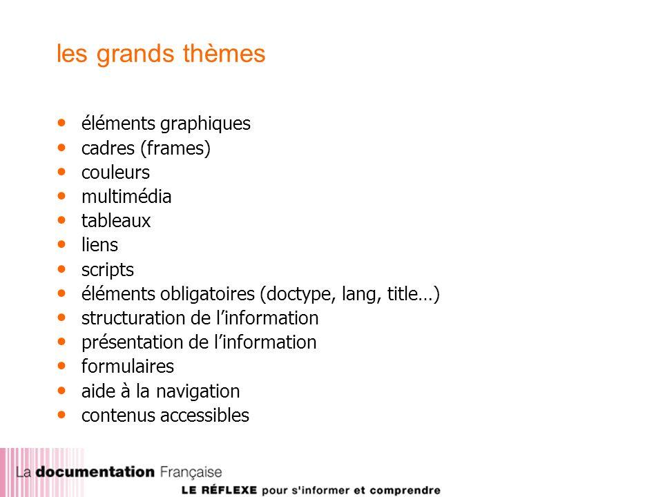 les grands thèmes éléments graphiques cadres (frames) couleurs multimédia tableaux liens scripts éléments obligatoires (doctype, lang, title…) structuration de linformation présentation de linformation formulaires aide à la navigation contenus accessibles