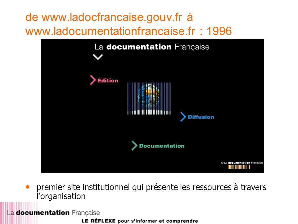 de www.ladocfrancaise.gouv.fr à www.ladocumentationfrancaise.fr : 1996 premier site institutionnel qui présente les ressources à travers lorganisation