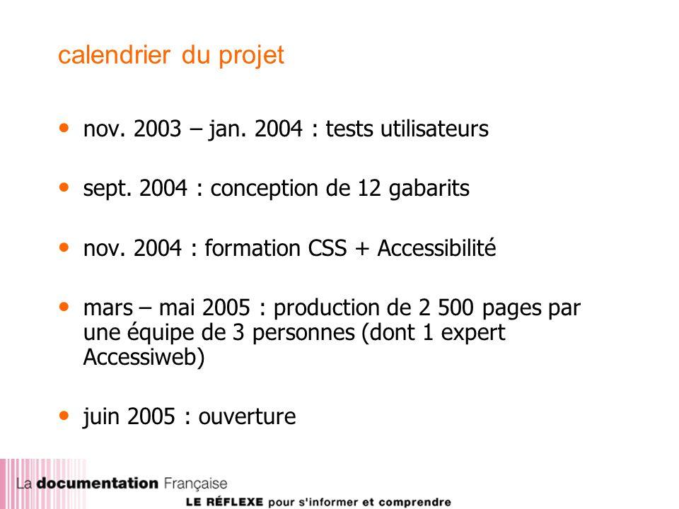 calendrier du projet nov. 2003 – jan. 2004 : tests utilisateurs sept.