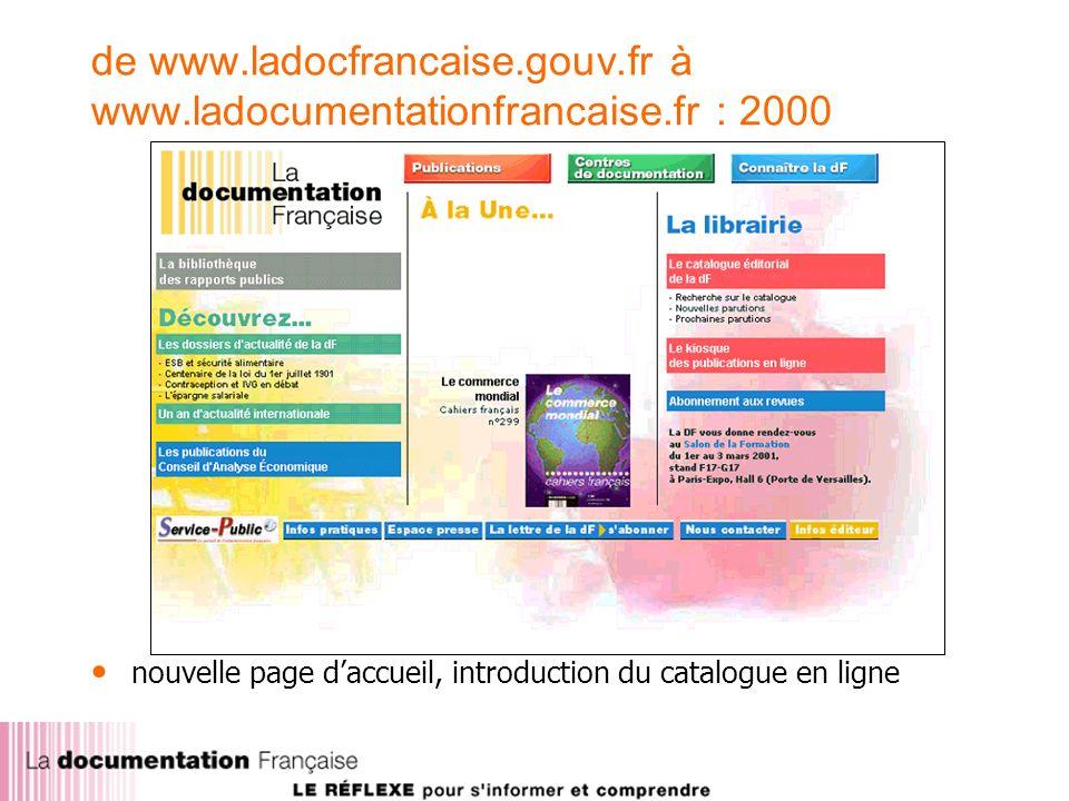 de www.ladocfrancaise.gouv.fr à www.ladocumentationfrancaise.fr : 2000 nouvelle page daccueil, introduction du catalogue en ligne