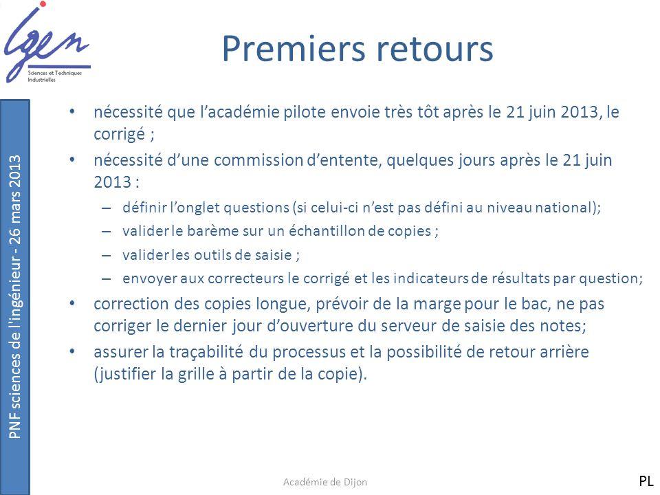 PNF sciences de l'ingénieur - 26 mars 2013 Premiers retours nécessité que lacadémie pilote envoie très tôt après le 21 juin 2013, le corrigé ; nécessi